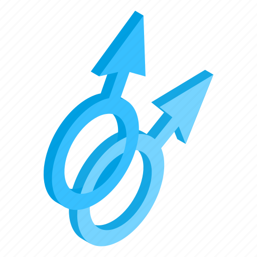 isometric, love, male, men, relationship, sex, union icon