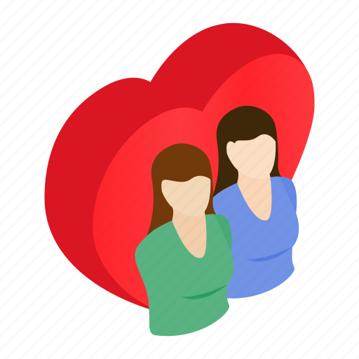 female, heart, homosexual, isometric, lesbian, love, relationship icon