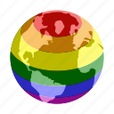 colorful, globe, isometric, lesbian, love, planet, rainbow icon