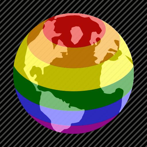 colorful, globe, isometric, lesbian, love, planet, rainbow icon