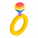 diamond, isometric, marriage, rainbow, ring, valentine, wedding icon