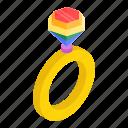 diamond, isometric, marriage, rainbow, ring, valentine, wedding