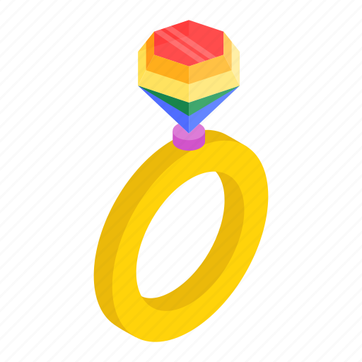 diamond, isometric, marriage, rainbow, ring, valentine, wedding icon