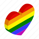 colorful, gay, heart, isometric, lesbian, love, rainbow icon