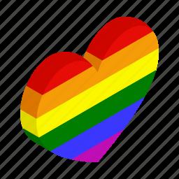colorful, gay, heart, isometric, lesbian, love, rainbow icon