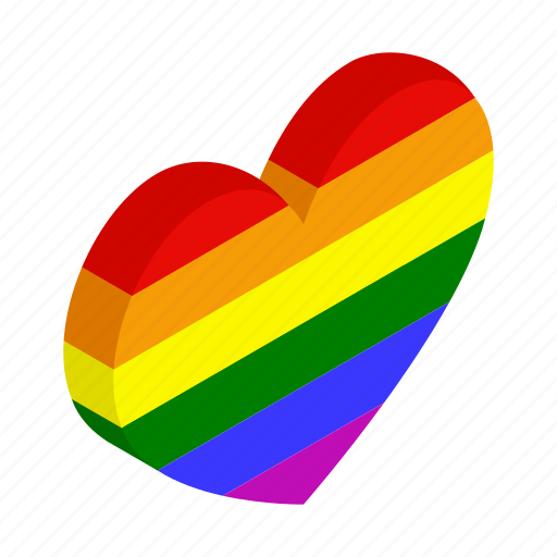 Colorful, gay, heart, isometric, lesbian, love, rainbow icon - Download on Iconfinder