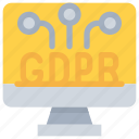 computer, connect, data, gdpr, network, secure, security icon