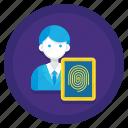 data, fingerprint, protection, scan, subject icon