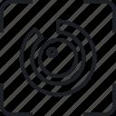 eye id, gear, setting, target icon