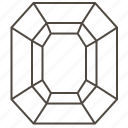 asscher, diamond shape, faceted stone, gems, jewellry, octagonal step-cut icon