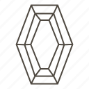 diamond, diamond cut, faceted stone, hexagonal step-cut, jewellry icon