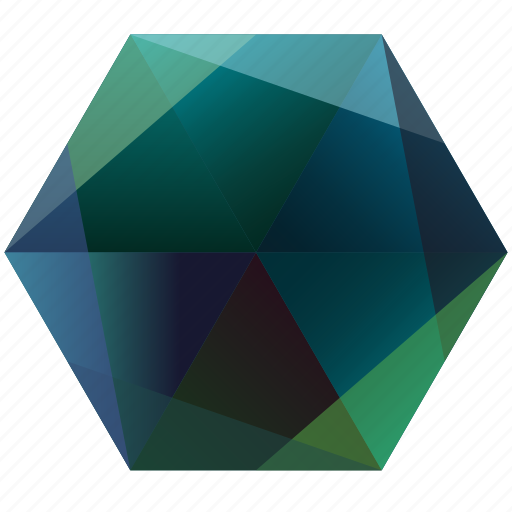 blue, green, hexagon, la, lunar, ocean, sea icon