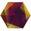 autumn, fall, hexagon, la, orange, purple, yellow icon