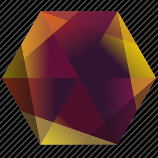 autumn, fall, hexagon, la, orange, purple, yellow icon