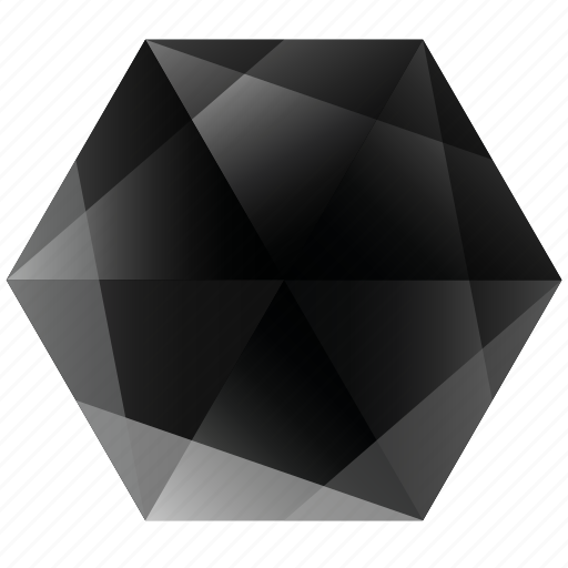 base, dark, gem, hexagon, lunar, noir, zwart icon