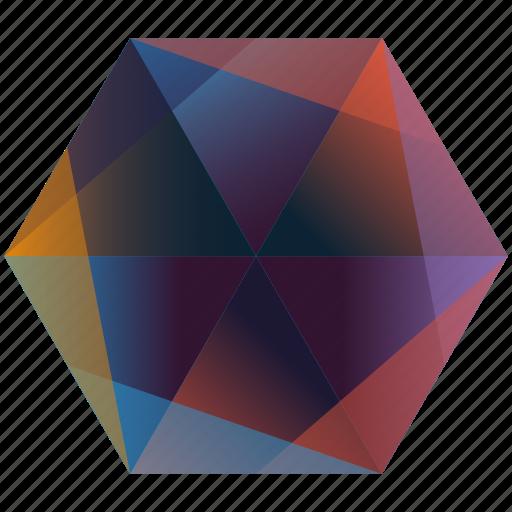 base, gem, hexagon, in, la, linked, rainbow icon