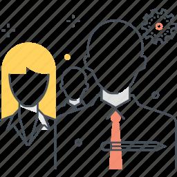 employee, group, leader, man, woman, work icon