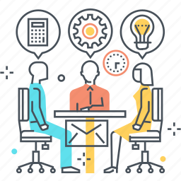 business, employee, meeting, skills icon