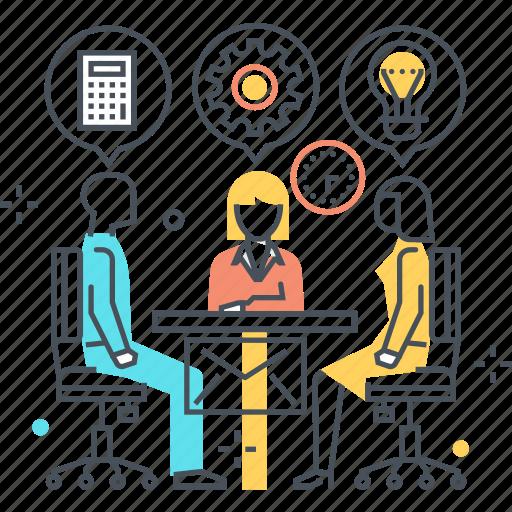 business, employee, meeting, skills icon