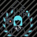 avatar, employee, female, level, up, woman
