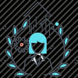 avatar, employee, female, level, up, woman icon