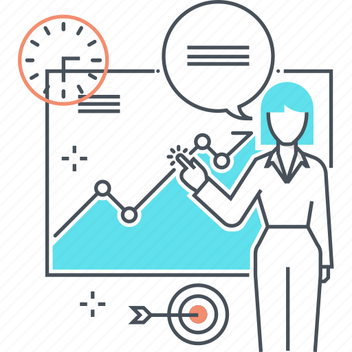 business, graphic, presentation, statistics, woman icon