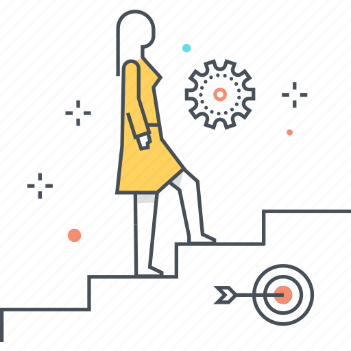 climbing up, female, growth, ladder, stairs, woman icon