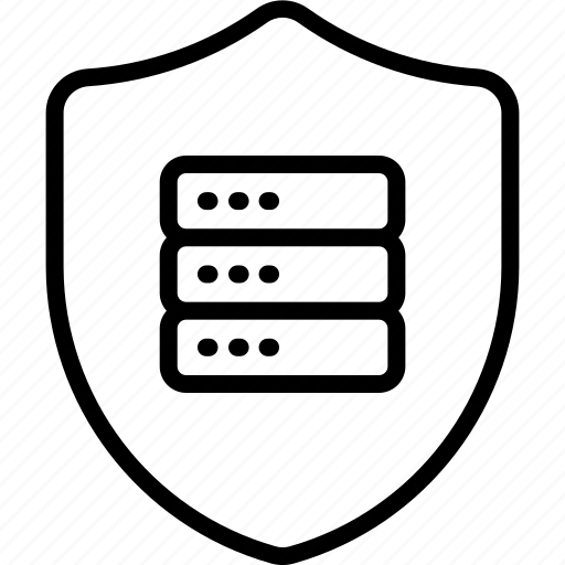 database, internet, network, privacy, security, server, shield icon icon