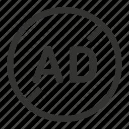 ad, no, stop icon