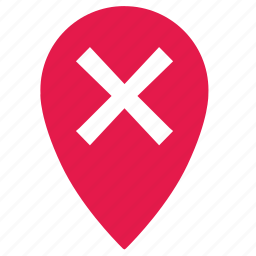 cancel, delete, enter, location, map, no, point icon