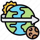 daytime, earth, planet, rotation, space icon