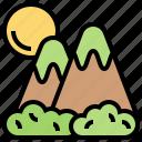 scenery, tourism, landscape, mountain, peak icon