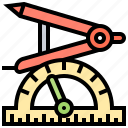 compass, drawing, geometry, measurement, protractor icon