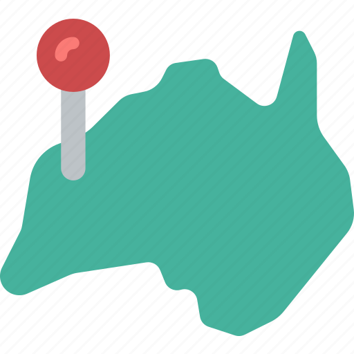 australia, country, geography, map, pin icon