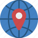 geography, globe, location, pin, world icon