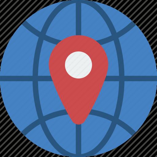 geography, globe, location, pin, world icon