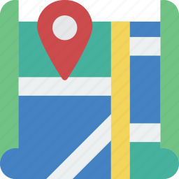 direction, geography, map, navigation, pin, street icon
