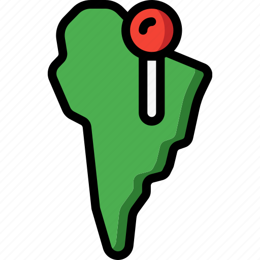 america, geography, location, map, navigation, south icon