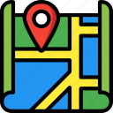geography, location, map, navigation, pin, street icon