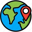 geography, globe, location, navigation, pin, world icon