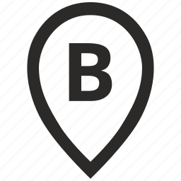 b, geo, letter, location, point, pointer icon