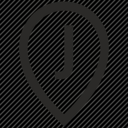 geo, j, letter, location, point, pointer icon