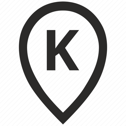 geo, k, letter, location, point, pointer icon