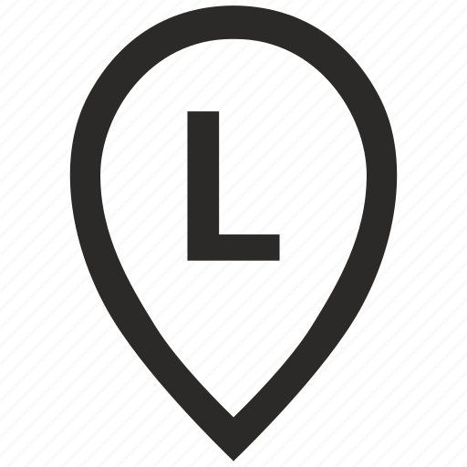 geo, l, letter, location, point, pointer icon