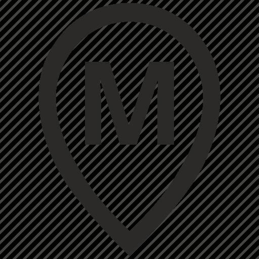 geo, letter, location, m, point, pointer icon