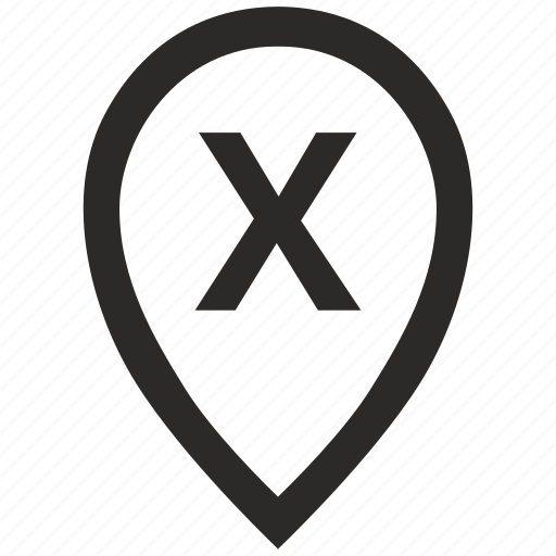 geo, letter, location, point, pointer, x icon