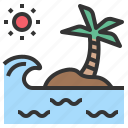 island, ocean, sea, tsunami, wave icon