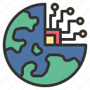 digital, earth, innovation, science, technology icon