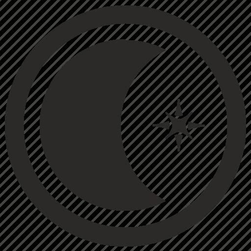 form, logo, logotype, moon, planet, round, star icon