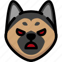 angry, emoji, emotion, expression, face, feeling, german shepherd icon